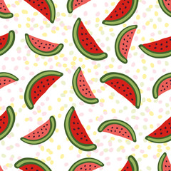 Watermelon seamless pattern. Dessert texture with cute slice. Colorful vector  for wallpaper, web page background, wrapping, packaging, textile, scrapbook, fabric, menu