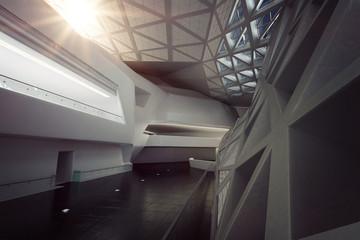 Modern empty atrium or hall interior