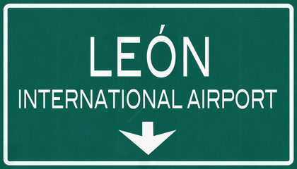 LEon Mexico International Airport Highway Sign