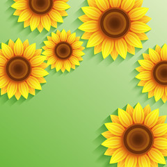 Nature summer green background with 3d sunflower