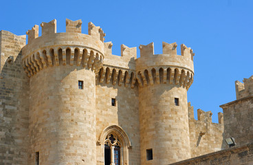 Towers and battlements of the Order of the Knights Castle in Rhodes, Greece.