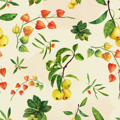 Watercolor physalis, apples and other plants seamless background pattern