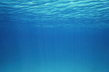 Blue underwater surface and ripples natural scene