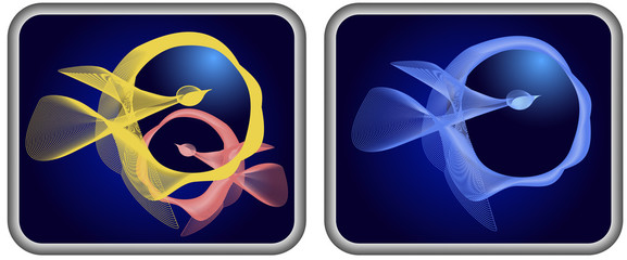 Icons with abstract blended birds of spirals
