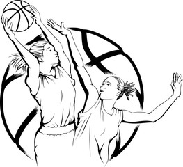 Woman Basketball Rebound and Defend