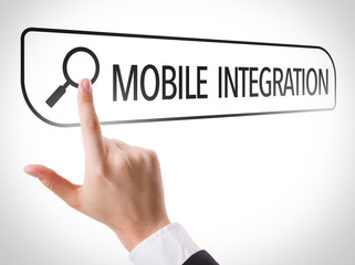 Mobile Integration written in search bar on virtual screen