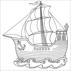 Beautiful ancient ship with sails sailing on the waves. Black-and-white contour.