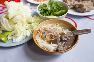 rice noodles with spicy pork sauce or Khanom Jin Nam Ngiao