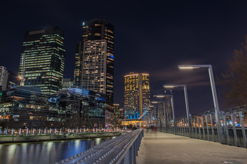 Sidewalk at Friday night in Melbourne city , Australia.