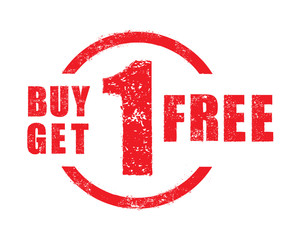 Buy 1 get 1 free rubber stamp, vector