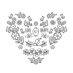 Vintage heart of flowers. The set of hand drawn decorative floral elements for Valentine's Day, mother's day, birthday, wedding. Doodles, sketch. Vector illustration.
