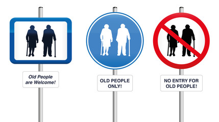 Old People- Three road signs, that welcome old people or that try to keep them away. Isolated vector illustration on white background.