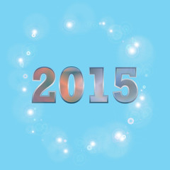 2015 Text with colorful star on blue background
