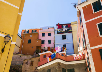 Cinque Terre  - tipical  colorful buildings in Vernazza