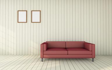 Working and living room set modern / 3D Render Image Luxury vintage red armchair
