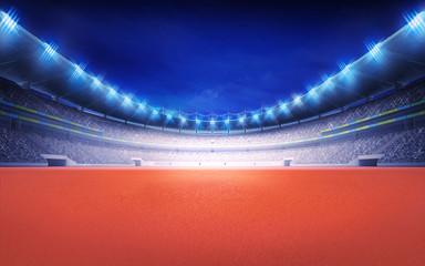 athletics stadium with tartan surface at panorama night view