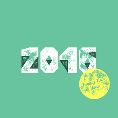 Happy new year 2016 card template - Vector grunge retro greeting
