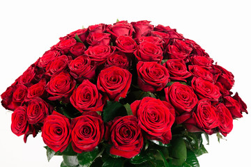 Isolated large bouquet of 101 red rose isolated on white