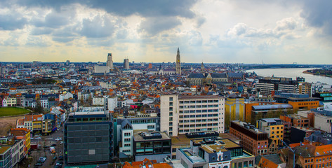 View over Antwerp with cathedral of our lady taken from the top of mas museum.