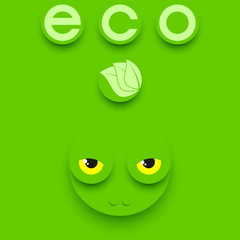 Funny reptile head on a green background. Green eco composition.