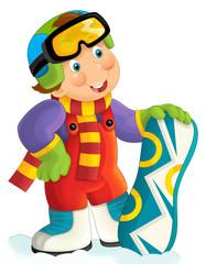 Cartoon snowboarder boy - illustration