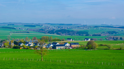 view of typical belgian countryside in ardennes region near bastogne.