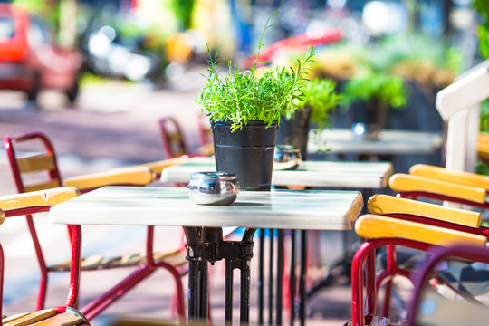 Summer empty outdoor cafe at tourist european city