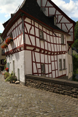 Historic crooked house corner  in the medieval village Monreal Germany, Monreal, Germany 2014