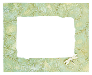 Ceramic photo frame with flower pattern.