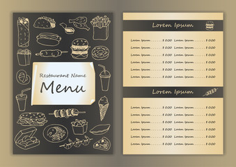 Menu with fast food hand drawn doodle elements