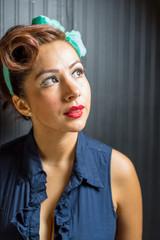 Hispanic female in retro style head shot