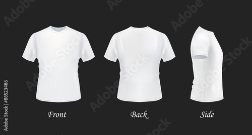 Tee Shirt Template | T Shirt Template Front Side Back View White T Shirts On Black