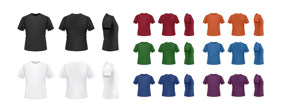 T-shirt template colorful collection isolated on white background, front, side, back view.