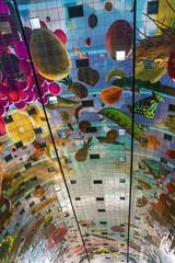 Interior of new Market Hall, Rotterdam, Netherlands. Ceiling