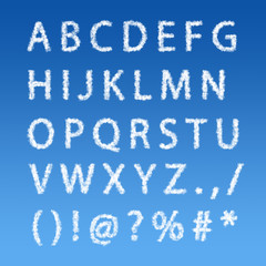 English alphabet from clouds on blue sky