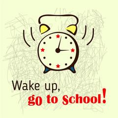 School background with ringing alarm-clock.