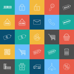 Set of outline shopping, e-commerce web icons for graphic and web design