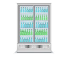 Fridge Drink with transparent glass door and water bottles