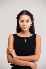Cute female model in black dress