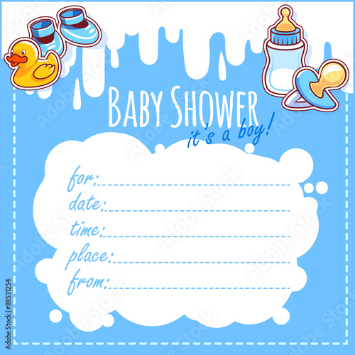 Baby Shower Card It S A Boy Blank Baby Shower Invitations For Boy