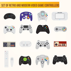 Set of flat vector video game controllers