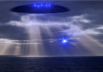 Door stickers UFO Ufo mit Lichtwesen schickt einen Boten über den Ozean