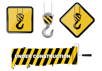 Under construction web icon and Paint roller with painted yellow black stripe