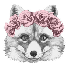 Original drawing of Fox with floral head wreath. Isolated on white background.