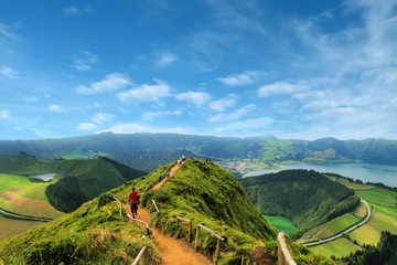 Walking path leading to a view on the lakes of Sete Cidades