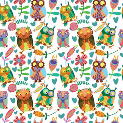 Cute seamless pattern  with owls