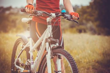Mountain biking in the field.