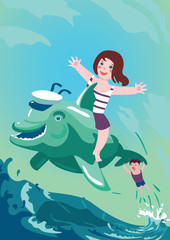 Kids are swimming with a dolphin.Boy and girl are riding on a dolphin. Vector illustration.