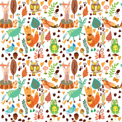 Cute seamless pattern with forest animals.Owl,squirre l, deer, n