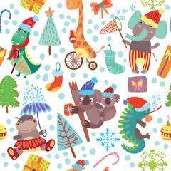 Cute Christmas seamless pattern with wild animals from Africa.ig